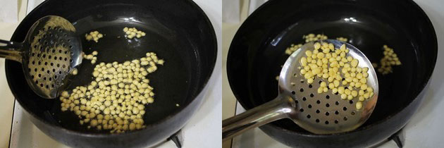 frying boondi into the oil/ghee