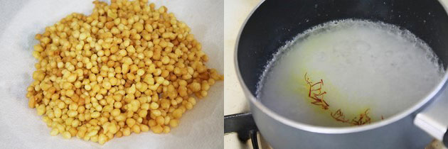fried boondi in a plate and sugar, water in a pan