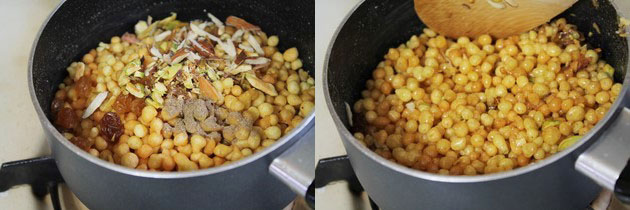 addding boondi and nuts into sugar syrup.