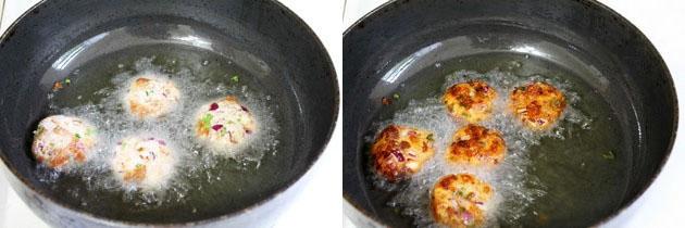 frying bread vada into hot oil