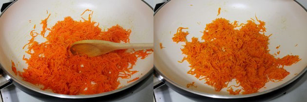 cooking grated carrot in ghee