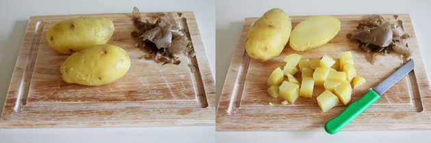 boiled, peeled and chopped potatoes