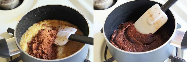 adding and mixing cocoa powder