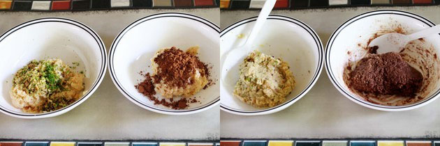 Collage of 2 steps showing mixture divided into 2 bowls, added pista and cocoa powder, mixed.