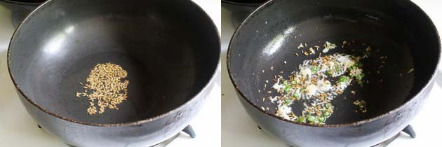 tempering cumin seeds and sauteing ginger garlic