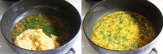 add boiled dal and simmer to make moong dal palak recipe