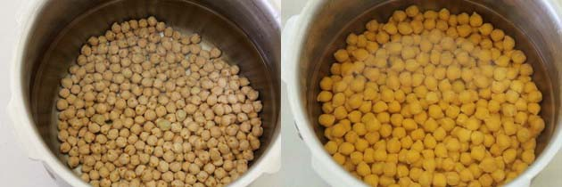 Soak kabuli chana or chickpeas for chole recipe