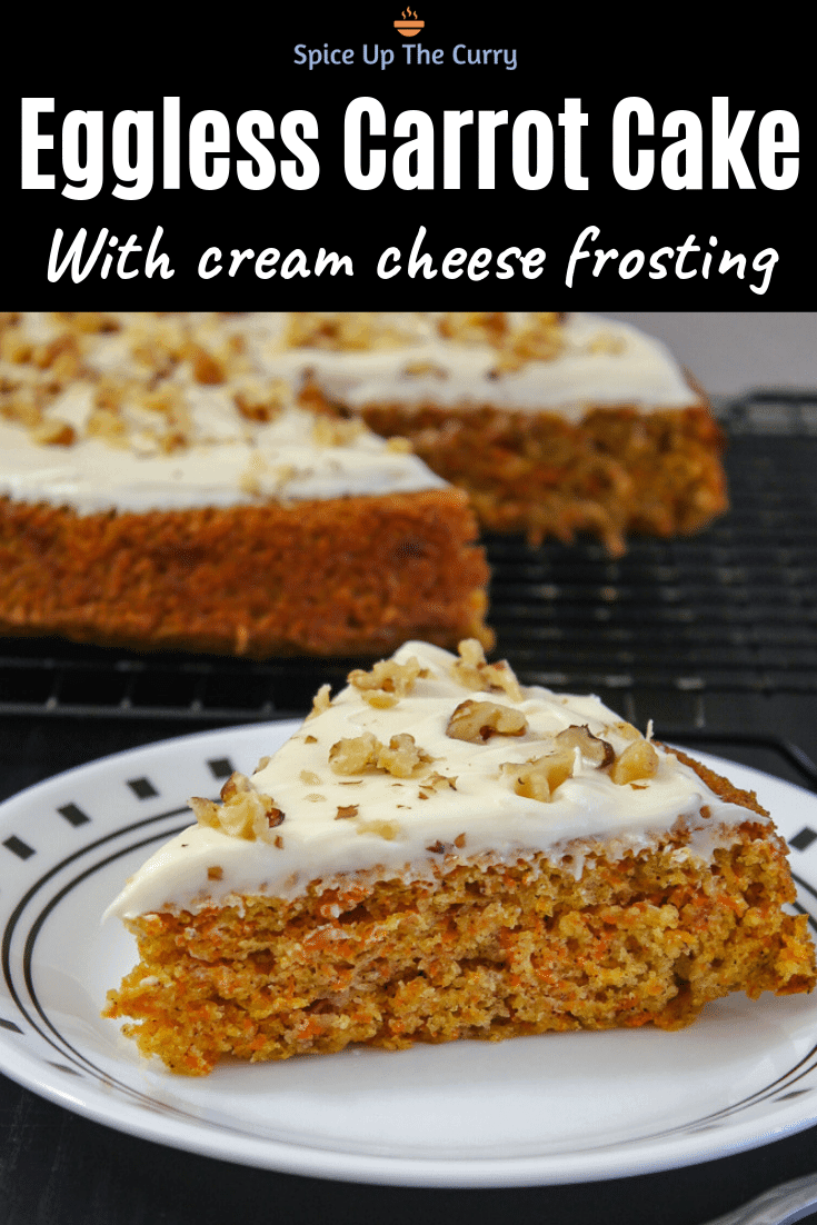 eggless carrot cake recipe (pin)