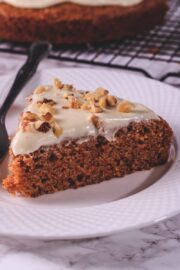 a slice of eggfree carrot cake in a plate