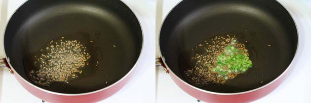 tempering of cumin seeds and green chilies