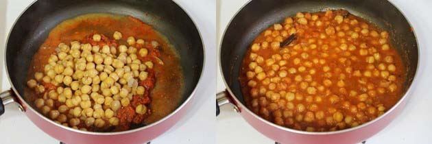 adding boiled chickpeas