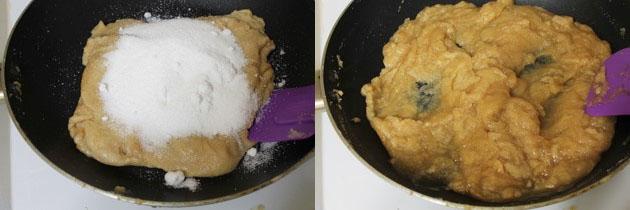 adding sugar and cooking atta halwa