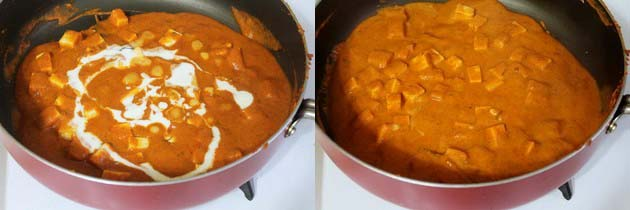 adding cream to paneer butter masala