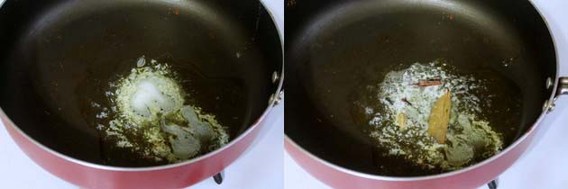 Melt butter for paneer butter masala