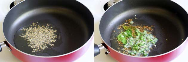saute cumin seeds and green chilies