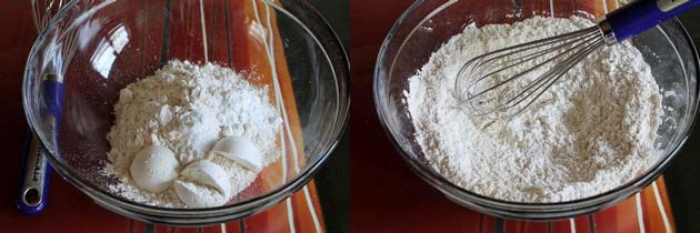dry flour mixture for eggless vanilla cake