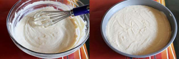 cake batter in a cake pan