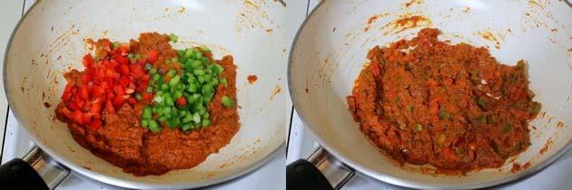 adding and mixing capsicum
