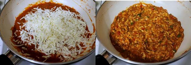adding and mixing grated paneer