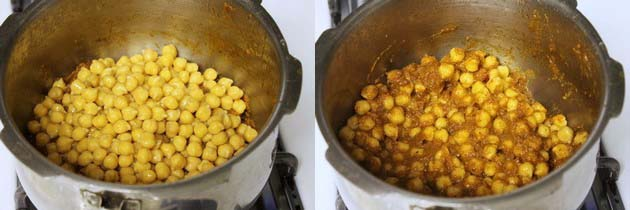 add soaked chickpeas to make chana masala or punjabi chole