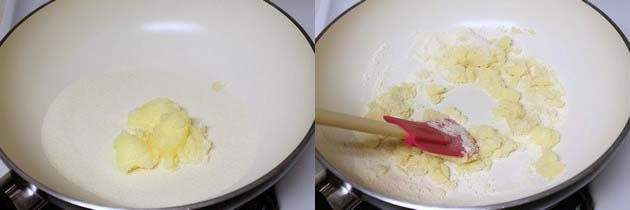 adding ghee and semolina in a pan