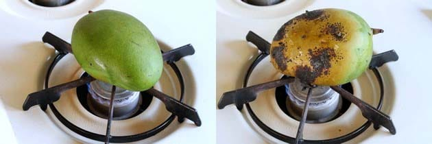 roasting the mangoes for aam panna