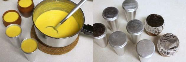 pour mango kulfi mixture into molds