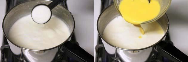 add sugar and custard powder paste
