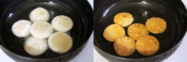 frying papdi into hot oil
