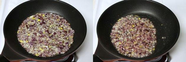 sauteing onion till soft