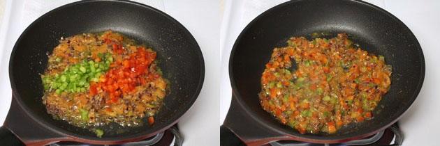 adding and cooking capsicum