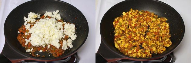 adding and mixing crumbled paneer