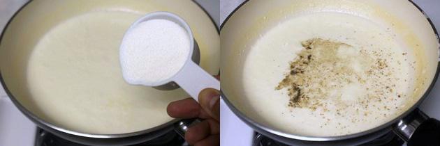 Adding sugar and cardamom powder
