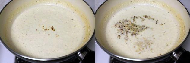 Adding saffron and chopped nuts