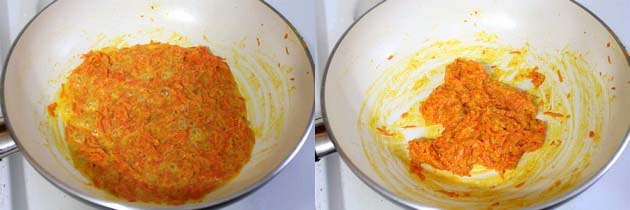cooking carrot and condensed milk mixture