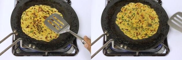 both side cooked methi paratha