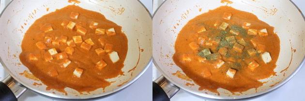 Mixing paneer and kasoori methi to paneer masala gravy