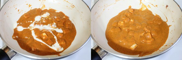adding heavy cream to paneer masala curry