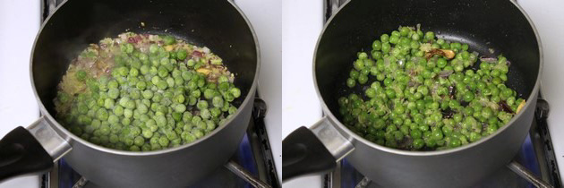 adding green peas