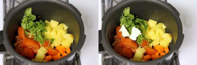 adding carrot, tomatoes, potatoes and cilantro in a pressure cooker