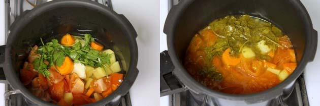 adding water and pressure cooking the veggies
