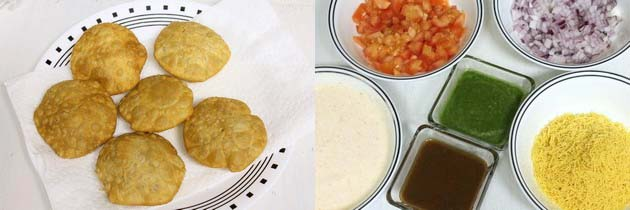 different elements for kachori chaat