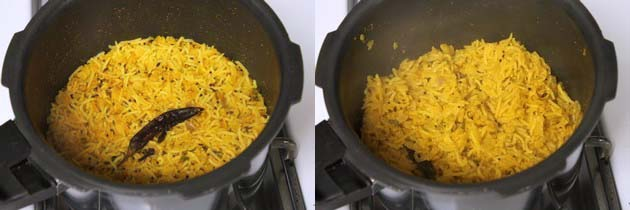 Masala khichdi in the pressure cooker on stovetop