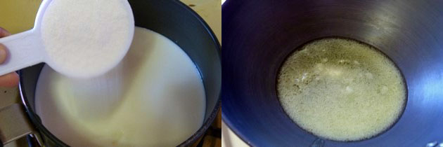 mixing sugar and milk in a sauce pan