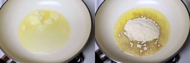 adding wheat flour to the ghee