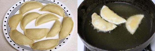 frying shaped karanji into hot oil