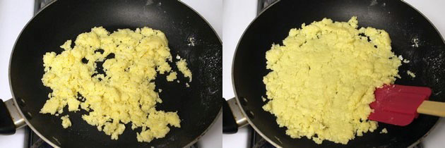 khoya sugar mixture is melted and cooking