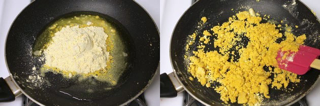 adding besan to the ghee