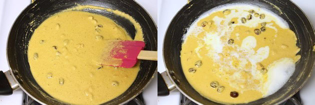 adding milk to rava besan mixture