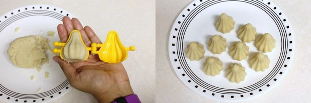 shaped sooji modak using modak mould